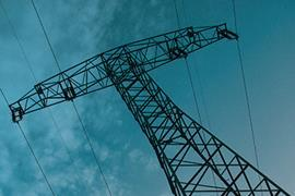 Sky electricity pylon electricity voltage clouds copy small
