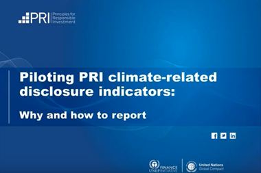 Piloting PRI climate-related disclosure indicators