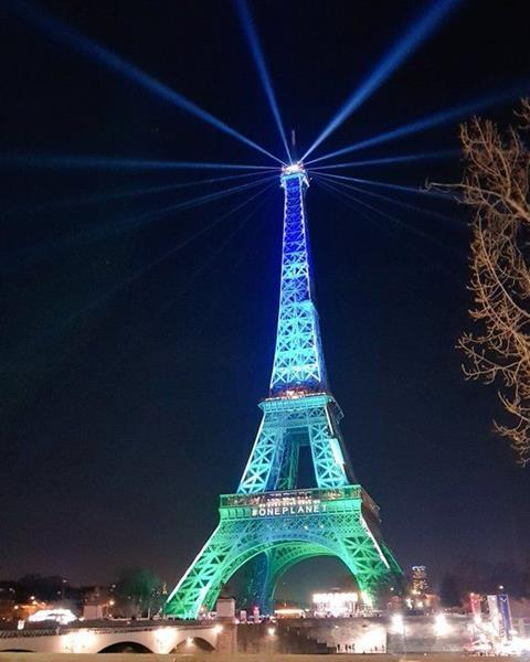 Eiffel Tower during the One Planet Summit